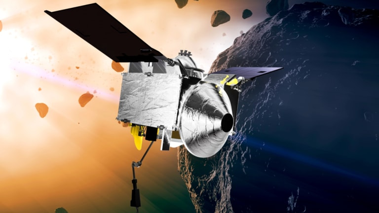 This illustration depicts the Osiris-Rex spacecraft at the asteroid Bennu.