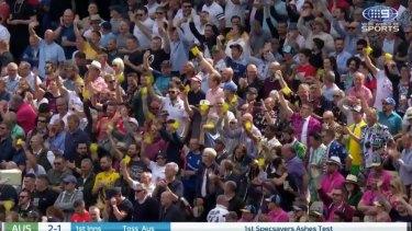 The Edgbaston crowd waves pieces of sandpaper at the Australians.
