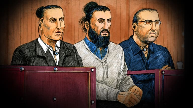 The three accused in the Supreme Court on Tuesday. Left to right: Ahmed Mohamed, Abdullah Chaarani, and Hamza Abbas.