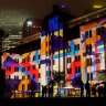 A vivid city blending old and new ... Circular Quay during the Vivid festival.
