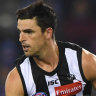 Comic relief: Scott Pendlebury helped lighten the mood as the Pies struggled to deal with a tenacious Bulldogs side.