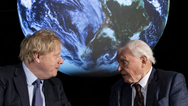 British Prime Minister Boris Johnson with Sir David Attenborough at the launch event the UN climate conference in Glasgow in November this year.