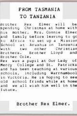 Tasmania's <i>Western Tiers</i> newspaper ran an item in 1988 about Elmer's posting to Tanzania.