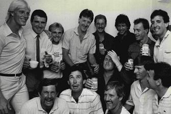 NSW's winning 1984-85 cricket squad: (from left, back row):  Phil Marks, Wayne Seabrook, Dirk Wellham, Geoff Lawson, Murray Bennett, Imran Khan, Greg Matthews, Greg Dyer, Dave Gilbert; (front row) Steve Rixon, John Dyson, Peter Clifford, Bob Holland, Steve Waugh and Steve Smith.