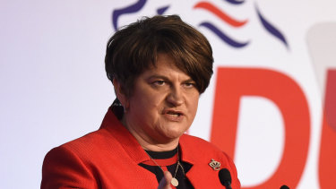 Democratic Unionist Party leader Arlene Foster at the Northern Ireland party's annual conference in Belfast on Saturday.
