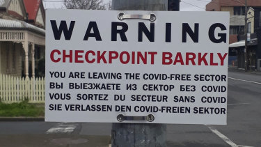 The Checkpoint Barkly sign