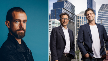 Jack Dorsey of Square, left, and Anthony Eisen and Nicholas Molnar of Afterpay. The deal between the two groups may not be the last big one of this cycle.