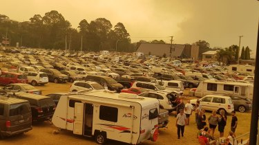The evacuation point for Batemans Bay residents, the Hanging Rock Sports Club Function Centre, on Tuesday morning.