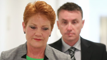 Senator Pauline Hanson with chief of staff James Ashby.