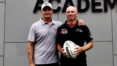 Brothers in arms: Ivan and Ash Cleary at the Panthers academy on Thursday.