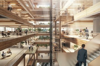 A concept of the atrium inside King Street Campus which is proposed for the Perth City Link.