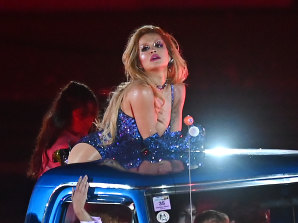 Rita Ora getting to know the locals at this year's Sydney Gay and Lesbian Mardi Gras.