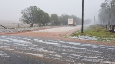 Kingaroy resident Denise Keelan was caught in a storm on the way home from work. She was surprised at how large the hail was.