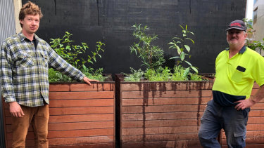 Jonas Grandinger and Cahal McLaughlin showing off three native bush tucker planter boxes commissioned by Perth Theatre Trust for NAIDOC Week. Jonas and Cahal are currently long-term unemployed and volunteering with GWR. With this commission GWR was able to provide them both with two weeks' paid work and is working hard to create more long-term sustainable employment for both of them.