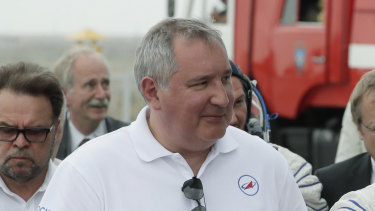Roscosmos state space corporation head Dmitry Rogozin, pictured at  the Russian leased Baikonur cosmodrome in Kazakhstan in June.