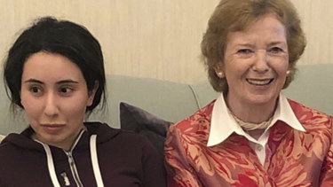 A photo released by the UAE showing Sheikha Latifa bint Mohammed al-Maktoum, a daughter of Dubai's ruler, with Mary Robinson, a former United Nations High Commissioner for Human Rights and former president of Ireland.