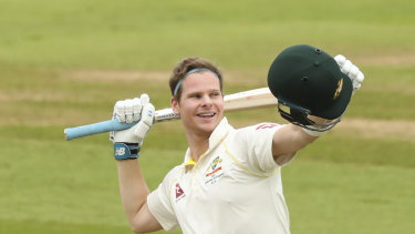 Steve Smith celebrates after scoring his second ton during the Edgbaston Test.