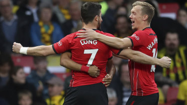 Southampton's Shane Long celebrates scoring his side's first goal of the game against Watford.