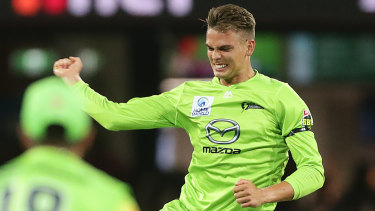 Chris Green celebrates a wicket in the recent Sydney derby.