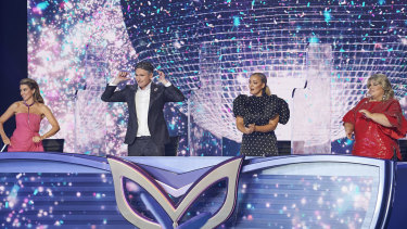 Dannii Minogue, Dave Hughes, Jackie O and Urzila Carlson on The Masked Singer.