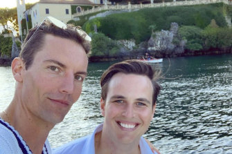 Society couple Billy Mitchell and Michael Porter (right) have postponed their Lake Como nuptials.