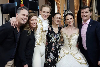 Hallberg (third from left) with, from left, artistic team Steven Heathcote, Elizabeth Toohey and Fiona Tonkin, principal artist Amber Scott, and David McAllister – whom Hallberg is replacing as The Australian Ballet's artistic director.