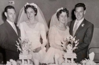 Marion and Leigh (left) with Helen and Don at their double wedding in 1959.