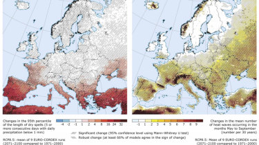 Modelling predicts more dry spells (left) and more heat waves (right) in Europe.
