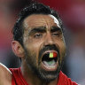 Adam Goodes playing for the Sydney Swans in 2015.