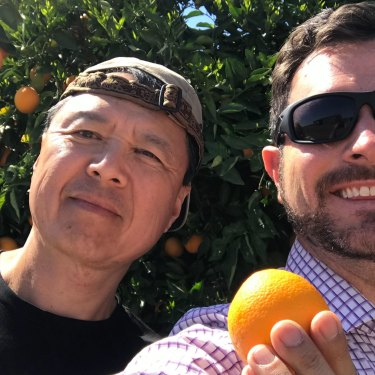 Hillridge co-founders Dale Schilling (right) and Dai Kyu Kim in Moree.