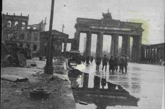 Allied bombing damage in Berlin, 1945.