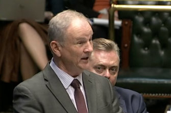 Riverstone MP Kevin Conolly during the debate over decriminalising abortion, which he also opposed.