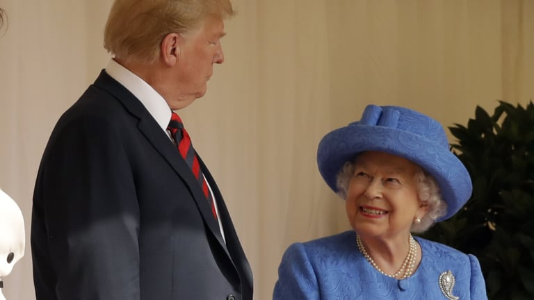 President Trump with Queen Elizabeth.