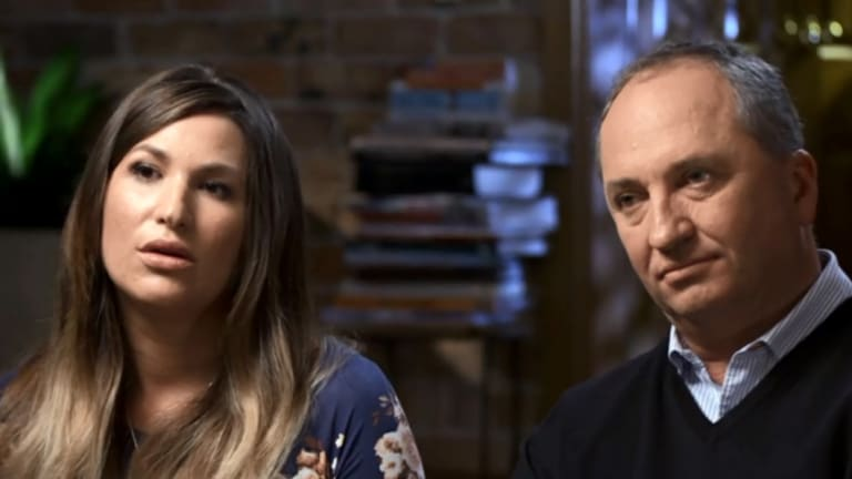 Vikki Campion and Barnaby Joyce during their paid interview on the Seven Network.