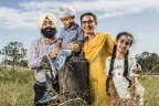 Kanwar Jeet, one of the volunteers behind the establishment of Australia's first Sikh school, with his family