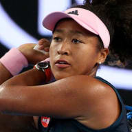 Naomi Osaka of Japan in action against Tamara Zindansek of Slovenia during day four of the Australian Open.