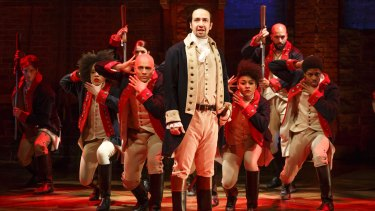 Lin-Manuel Miranda with the cast during a performance of Hamilton, in New York.