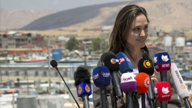 Special Envoy of the United Nations High Commissioner for Refugees (UNHCR), Angelina Jolie, gives a press conference in the Domiz camp for Syrian refugees.