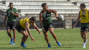 Latrell Mitchell at Souths training on Friday morning.