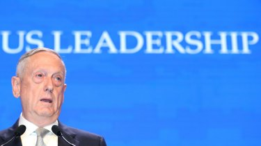 James Mattis, US Secretary of Defence, speaks during the IISS Shangri-La Dialogue Asia Security Summit in Singapore.