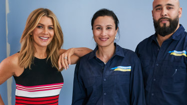 Changing Rooms host Natalie Bassingthwaighte with two contestants.