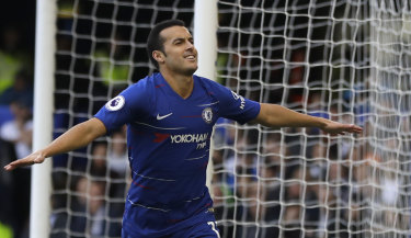 Chelsea's Pedro celebrates after scoring his side's first goal against Fulham at Stamford Bridge on Sunday.