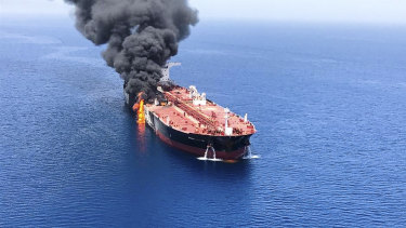 The oil tanker on fire in the sea of Oman.