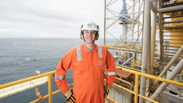 ExxonMobil's Australian chair Nathan Fay aboard a platform in Bass Strait.