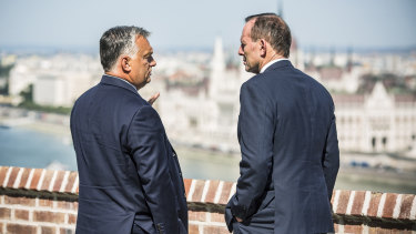 Hungarian Prime Minister Viktor Orban with former prime minister Tony Abbott in September.