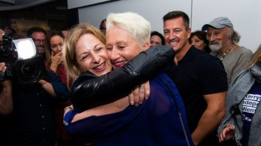 Dr Kerryn Phelps celebrates her win with her wife, Jackie Stricker, on the night of the Wentworth byelection.