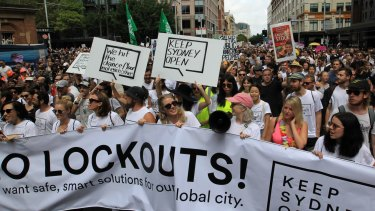 """""""Keep Sydney Open"""" rally to protest against the recently renewed lockout laws in 2016."""