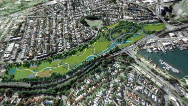 An artist's impression of the parkland planned to cover the old Rozelle Rail Yards.