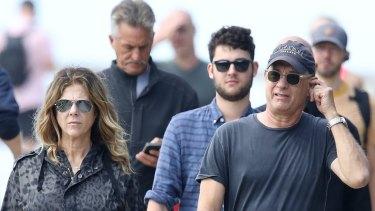 Rita Wilson and Tom Hanks photographed in Sydney last week.