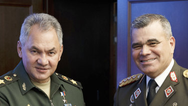 Russian Defence Minister Sergei Shoigu, left, and Venezuela's Minister of Defence Vladimir Padrino Lopez held talks in Moscow.
